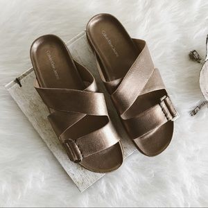 calvin klein dusty bronze slide sandals